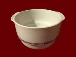 Kék mintás alföldi porcelán nagy méretű mély tálaló leveses tál