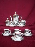 Szász Endre hollóházi porcelán kávéskészlet (pillangós)