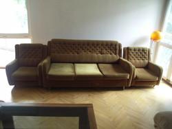 Óarany bársony ülőgarnítura + 2 fotel