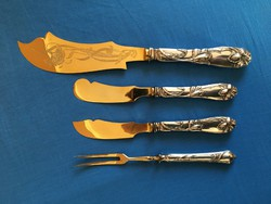 Szép szecessziós kés villa szett ezüst nyéllel
