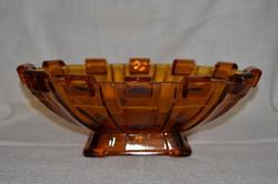 Régi vastag, nehéz üveg asztal közép, kínáló  ( DBZ 00113 )