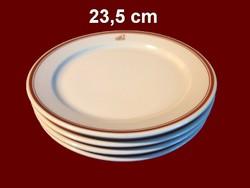 4 db barna csíkos alföldi porcelán nagy lapos tányér