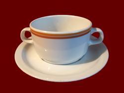 Barna csíkos alföldi porcelán leveses csésze, tálka, fehér tányérral
