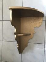 Nagyméretű aranyszínű fa sarok fali konzol,polc