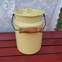 Zománcos Zománcozott sárga  3 literes tejeskanna kanna nosztalgia darab, paraszti dekoráció