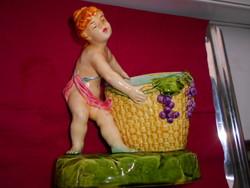 Antik majolika asztali figura- szüretelő kislány kosárral