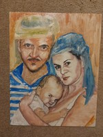 Portré festmény, 44x56 cm, olaj, farost