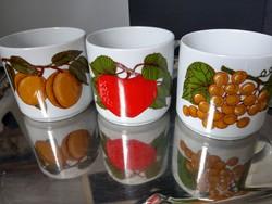Alföldi gyümölcsös bögrék, alma , szőlő , barack mintával