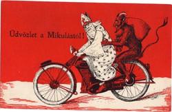 Mikulás és a Krapusz a motorbiciklin