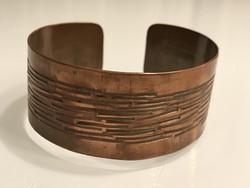 Retro iparművészeti bronz karkötő, 3 cm széles