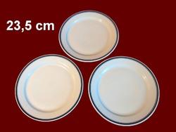 3 db kék csíkos alföldi porcelán nagy lapos tányér