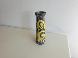 Régi retro kerámia szürke sárga váza 32,5 cm mid century