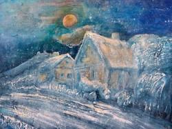 Hóesés Szigligeten. 40x50 cm-es kép MŰTEREMBŐL. Károlyfi Zsófia Prima díjas alkotó műve.
