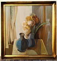 Somos Miklós (1933 - 2009) Csendélet c. Képcsarnokos festménye 70x67cm EREDETI , GARANCIÁVAL