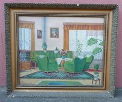 Festmény zöld szobabelső, enteriőr 1956-ból jelzett
