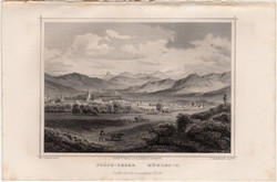 Szász - sebes, acélmetszet 1864, Hunfalvy, Rohbock, eredeti, metszet, Erdély, Szászsebes, Fehér m.