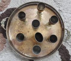 Szecessziós réz tálca 7 talpas kupicával és egy fogpiszkatartóval