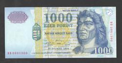 "1000 forint 1999. ""DD"". UNC!!  RITKA!!"