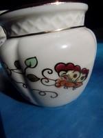 Zsolnay váza kaspó porcelán régi hibátlan pillangós 24 K aranyozással