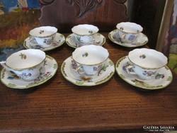 Viktória mintás Herendi porcelán kávéscsészék csészealjjal (1943) 6db