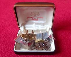 Régi vintage 10 db mandzsetta gomb mandzsettagomb Weber dísz dobozban