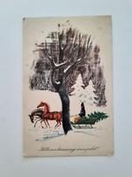 Régi karácsonyi képeslap lovasszános rajzos levelezőlap