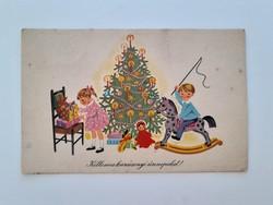 Régi karácsonyi képeslap K. Lukáts Kató rajza