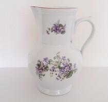 Régi porcelán ibolyás kiöntő gyöngyvirágos vintage kancsó 22 cm