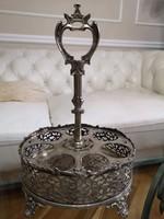 Ezüstözött fém pohár, üvegcse, fűszer tartó  29 cm