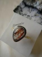 Valódi Rutilkvarc  925 Ezüst Gyűrű 54-es