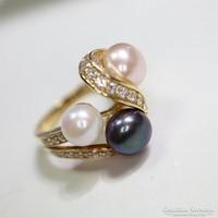 Gyöngyök cirkónia kövekkel ezüst gyűrű.ÚJ!