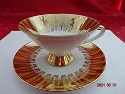 Bareuther Bavaria német porcelán teáscsésze + alátét, dúsan aranyozott.