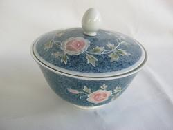 Ilmenau porcelán rózsás bonbonier vagy cukortartó