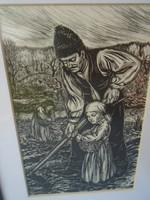 Gy. Szabó Béla xilográfia/ fametszet /  30 x 22 cm 1948 jelezve RAGYOGÓ ÁLLAPOTBAN VAN!