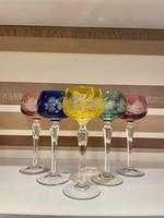 Biedermeier színes poharak tű hibátlan gyönyörű állapot