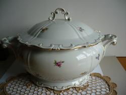 Zsolnay porcelán levesestál fedővel
