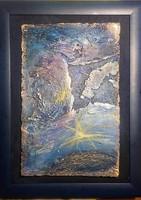 Egy csillag elindul  33x25 cm-es parafa-porcelán kép. Károlyfi Zsófia Prima díjas alkotó műve.