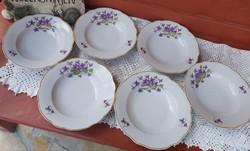 6 db Ritka Zsolnay Ibolyás virágos mélytányér, tányérok, tányér, Gyűjtői, nosztalgia darabok