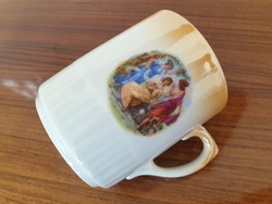 Régi Zsolnay porcelán jelenetes eozinos bögre teás csésze
