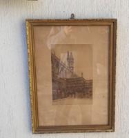 Rézkarc,Réz karc , gyönyörű vàr kastély, különleges darab reneszánsz, Gótikus, templom, épület
