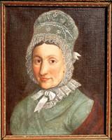 Nő csipkés főkötővel - antik biedermeier festmény, keretezett