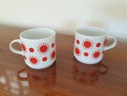 Retro régi 2 db Alföldi porcelán bögre piros mintás teás csésze
