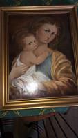 Madonna Kis Jézussal olaj karton 46,5x37cm kerettel együtt
