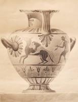 Antik görög váza - egyedi tusfestmény, 1900 körül