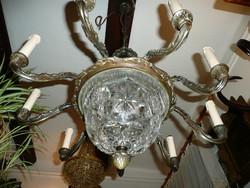KURIÓZUM! Valódi csiszolt kristály búrás antik 9 ágú bronz csillár nagyon szép állapotban