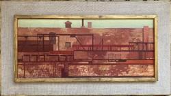 Dezső József: Hídépítőműhely II. című festménye