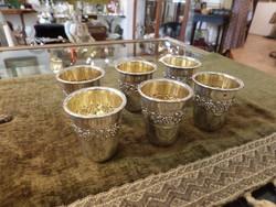 6 db ezüst pálinkás / snapszos pohár