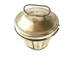 Kuglóf, gyümölcskenyér sütő, antik jelzett fedeles kuglófsütő