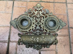 Bronz kalamáris, tintatartó, asztali dísz! Íróasztalra ajánlom! Barokkos cizellált mótivummal!