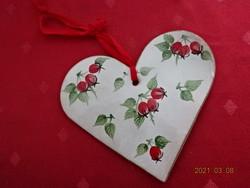 Német kerámia, szív alakú falidísz, magassága 12 cm.